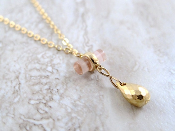 Mini Pink Cylinder with Faceted Gold Drop Gold Chain Necklace