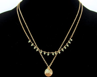Gold Chain Necklace with Small Dangling Mint Green Drops