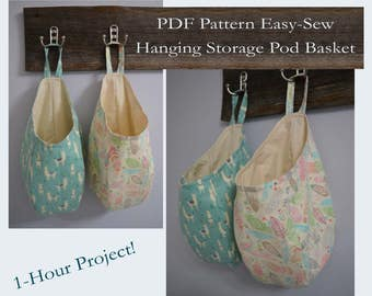 Easy Sew Hanging Storage Pod Basket PDF Pattern