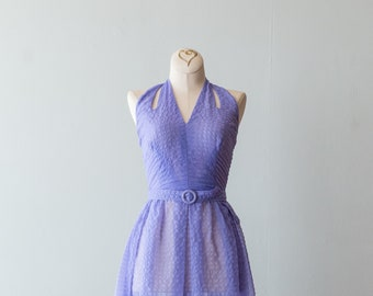 40c7f0a752bf6 Vintage 1950s Dress - 50s Halter Dress In Periwinkle Semi Sheer Sundress  With Full Pleated Skirt And Matching Jacket // Waist 22. xtabayvintage