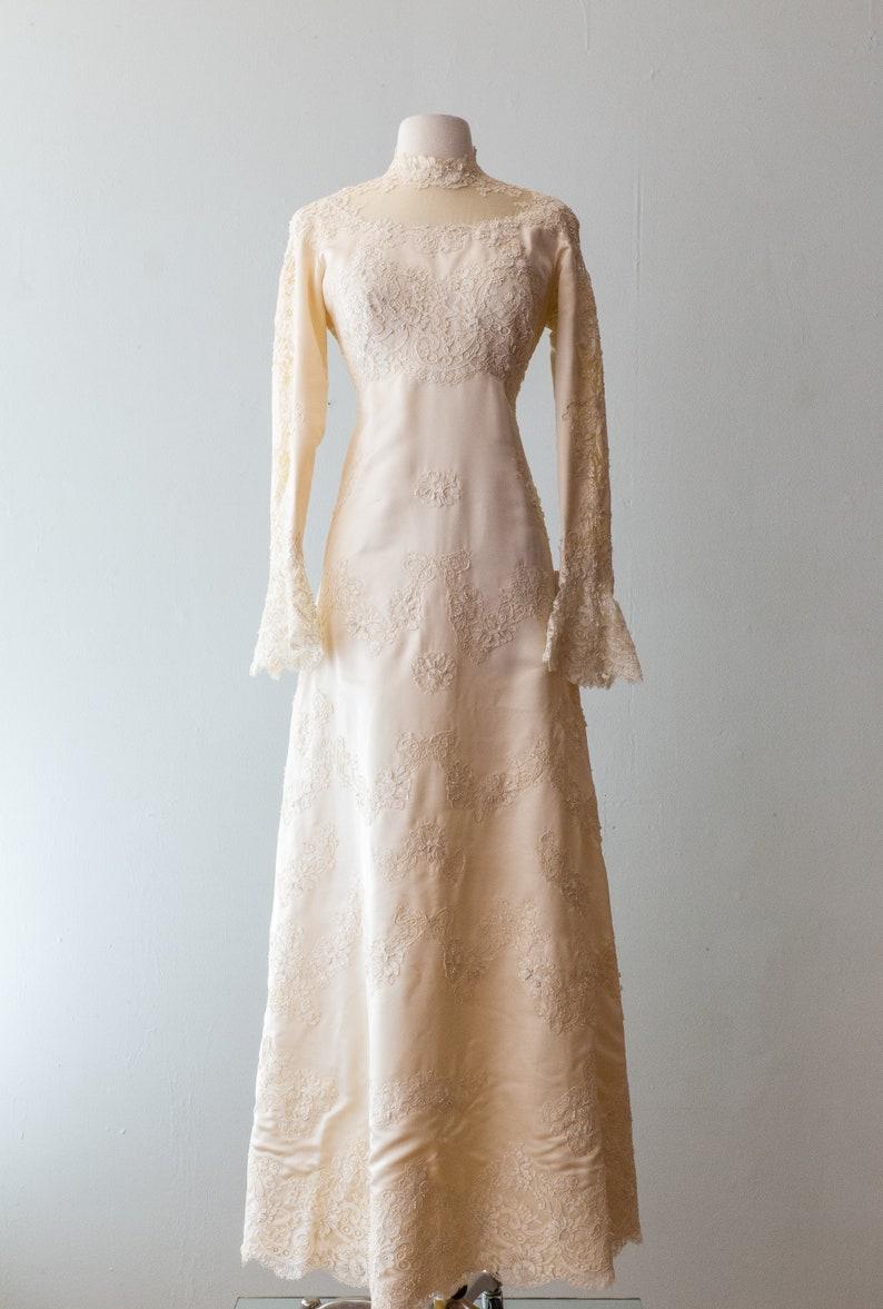 ee8730d5c665 Vintage 1960s Wedding Dress 60s Silk Victorian Style Wedding | Etsy