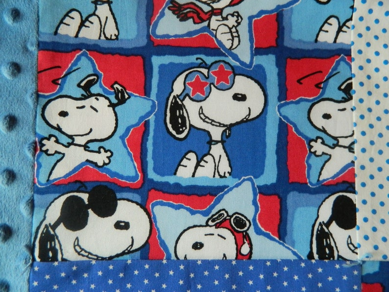 Snoopy Baby Quilt and 2 Flannel Receiving Blankets Gift Set Patchwork Quilt Baby Shower Gift Set Peanuts Blanket Red /& Blue Baby Quilt.