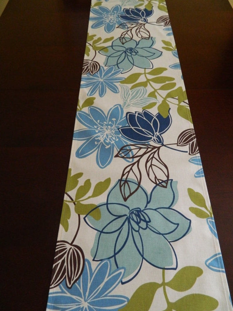 Brown and Chartreuse Runner Contemporary Table. Year /'Round Runner Blue Spring /& Summer Table Runner Blue Floral on Ivory Table Runner