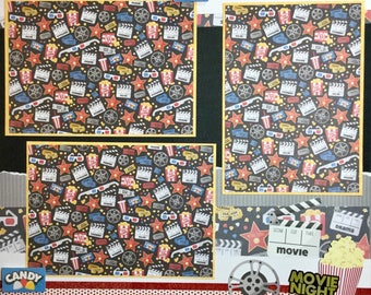 At the Movies 12 x 12 Scrpbook Premade Layout - scrapbook page - movies
