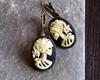 Skeleton cameo earrings, black ivory antique brass leverbacks, Halloween earrings, day of the dead, cameo jewelry, unique holiday gift ideas