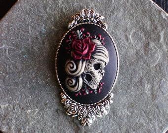 Sugar skull cameo brooch bb5b79a4e202