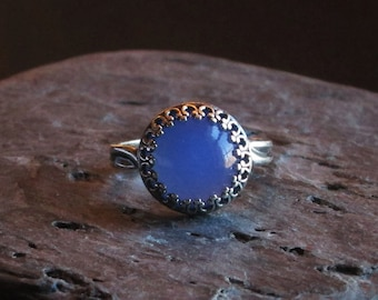 Blue glass opal ring, antique silver ring, adjustable ring, glass opal ring, blue opal ring, solitaire ring, holiday gift idea, gift for her