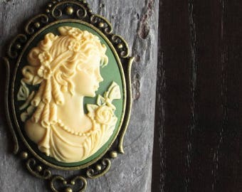 Irish green cameo necklace, irish, cameo jewelry, antique brass necklace, holiday gift ideas, gift ideas for mom, unique Christmas gift