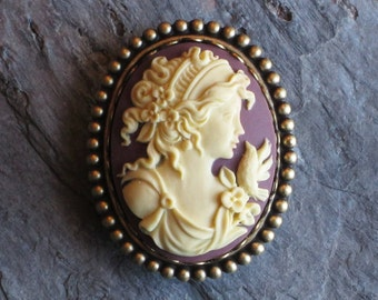 Purple cameo brooch, plum cameo brooch, cameo jewelry, antique brass brooch, holiday gift ideas, gift ideas for mom, unique Christmas gift