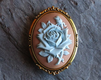 Blue rose flower cameo brooch, blue and tan cameo brooch, antique gold brooch, cameo jewelry, holiday gift ideas, gift ideas for mom