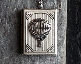 Hot air balloon book locket, pendant necklace, antique silver locket, beaded locket necklace, holiday gift ideas, gift ideas for mom