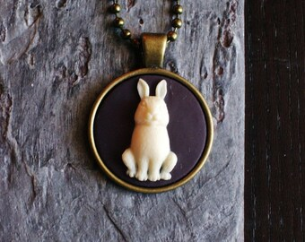 Rabbit cameo necklace, bunny cameo necklace, animal necklace, black cameo necklace, cameo jewelry, unique holiday gift ideas