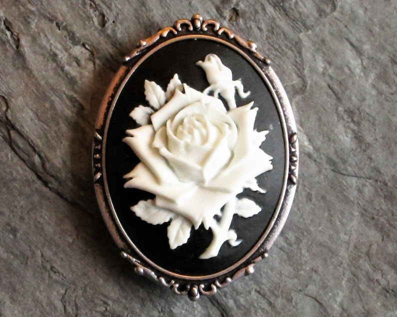 c7e7cba9f1b White rose flower cameo brooch black and white cameo brooch   Etsy