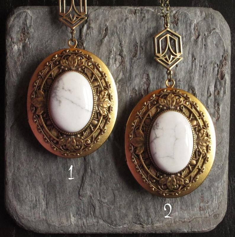 oval gemstone locket holiday gift idea art deco locket Art deco howlite locket long necklace howlite jewelry large locket necklace
