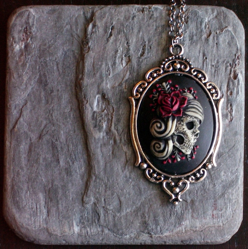Sugar skull woman pendant Halloween cameo jewelry skeleton cameo necklace gothic necklace halloween jewelry day of the dead necklace