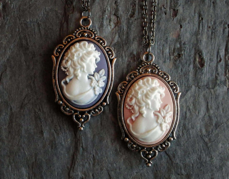 silver cameo necklace pink cameo necklace purple cameo necklace gift ideas for mom holiday gift ideas Cameo necklace cameo jewelry