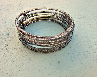 Beaded Smoke Gray Glass Adjustable Memory Wire Cuff Bracelet: Mirage