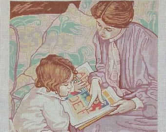 Hand Painted Needlepoint Canvas Theodora Mother and Child