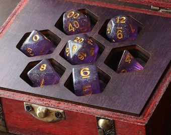 Wooden dice box for Dungeons and Dragons or Pathfinder - Luminous Amethyst