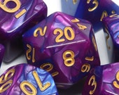 Purple and blue DND Dice, Opaque Marble, Polyhedral dice set for Dungeons and Dragons, RPG, Role Playing games