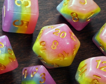 Unicorn Candy DND dice, colorful layered opaque dice, Polyhedral dice set for Dungeons and Dragons, RPG, Role playing games