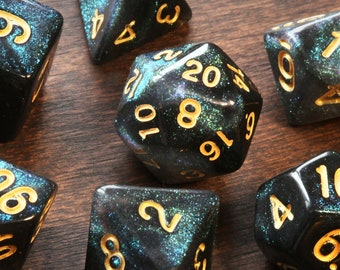 Cosmic Emerald DND Dice, Opaque with green glitters, Polyhedral dice set for Dungeons and Dragons, RPG, Role Playing games