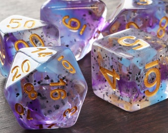 Eldritch Blast purple and bluish swirls DND Dice, Translucent with black particles, Polyhedral dice set for Dungeons and Dragons