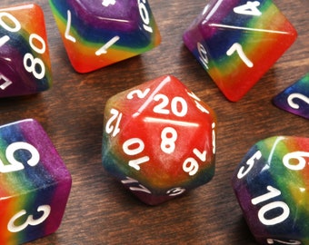 Rainbow DND dice, Multicolor layered opaque dice, Polyhedral dice set for Dungeons and Dragons, RPG, Role playing games