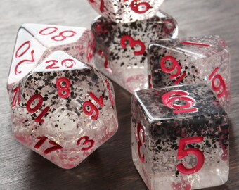 Translucent DND dice, Black and White particles, Polyhedral dice set for Dungeons and Dragons, RPG, Role playing games