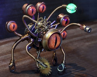Mechanical Beholder Miniature Sculpture, Pathfinder, Dungeons and dragons figurine, One of a kind piece