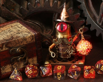 Clockwork Wizard workshop assistant sculpture, Treasure Guardian with wooden box and dice, Dungeons and dragons sculpture, Role playing game
