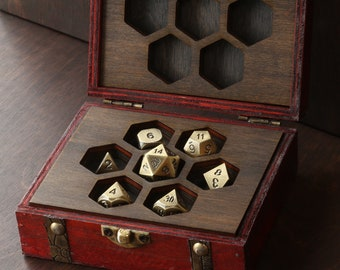 Wooden dice box for Dungeons and Dragons or Pathfinder Classic Polyhedral dice. DND dice wood storage box