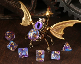 Clockwork Modron Sculpture Treasure Guardian with wooden box and dice, Dungeons and dragons sculpture, Role playing game