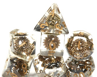 Gnome Tinkerer Dice, Steampunk dice set with gear inclusions, DND Dice with copper bronze cog, Transparent, Exclusive Limited Edition