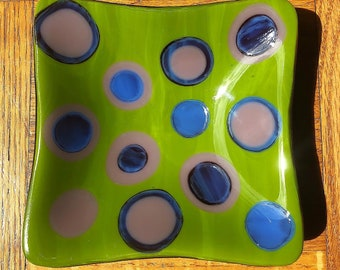 Avocado and Purple Polka Dot Fused Glass Dish