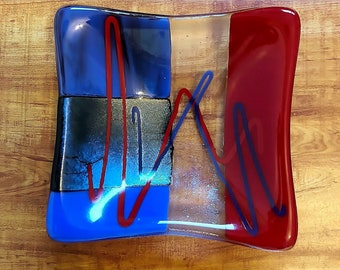Blue and Red Fused Glass Dish