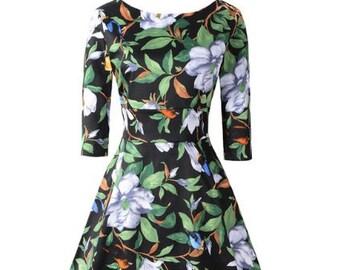 Choose Your Size - Beautiful Vintage Inspired Floral Black Green Birds Tea Dress // 100% Cotton Vintage Tea Dress // Boho // Vtg Dress Swing