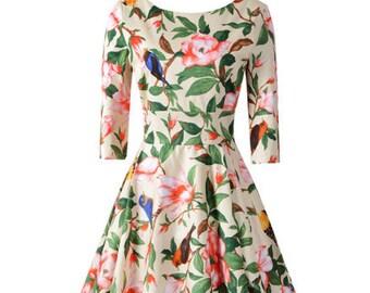 Choose Your Size - Beautiful Vintage Inspired Floral Cream Birds Tea Dress // 100% Cotton Vintage Tea Dress // Boho // Vtg Dress Swing