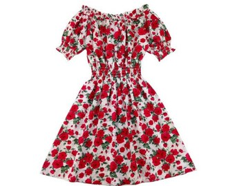 Choose Your Size - Pink English Rose Vintage Inspired Dress // Pure Cotton Tea Dress // Boho // Vtg Dress Swing