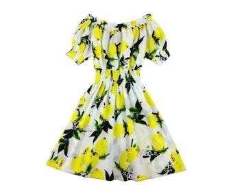Choose Your Size - Cute White Yellow Lemons Vintage Inspired Dress // Pure Cotton Tea Dress // Boho // Vtg Dress Swing