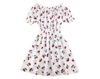 Choose Your Size - Cute White Cherry Vintage Inspired Dress // Pure Cotton Tea Dress // Boho // Vtg Dress Swing