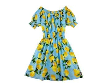 Choose Your Size - Cute Pale Blue Lemon Vintage Inspired Dress // Pure Cotton Tea Dress // Boho // Vtg Dress Swing