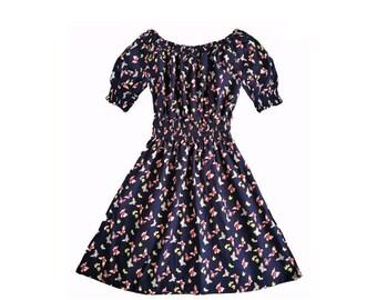 Choose Your Size - Cute Navy Blue Butterfly Vintage Inspired Dress // Pure Cotton Tea Dress // Boho // Vtg Dress Swing
