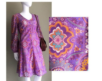 Size: UK 12 / USA 10 / EUR 40 - Vintage Purple Orange Turquoise Gorgeous Floral 60s Dress // Day or Night, Dress Up Or Down // Cute