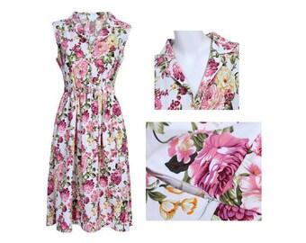Choose Your Size & Colour - Beautiful Vintage Inspired Floral Rose Tea Dress // 100% Cotton Vintage Tea Dress // Boho // Vtg Dress Swing