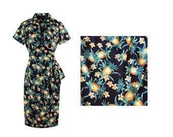 Choose Your Size - Beautiful Vintage Inspired Pineapple Dress // Cotton Vintage Tea Dress // Boho // Vtg Dress Swing