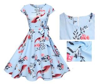 Choose Your Size - Beautiful Vintage Inspired Pale Blue Cranes Birds Dress // 100% Cotton Vintage Tea Dress // Boho // Vtg Dress Swing