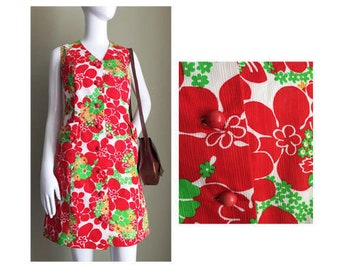 Size: UK 12 / USA 10 / EUR 40 - Vintage Beautiful Red Green White Floral Dress // 1960s // Day or Night, Dress Up Or Down // Mod // Vintage