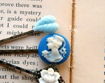 Winter Frost. blue and white cameo barrette trio