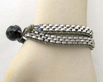 Leather Wrap Bracelet unisex bead woven hardware hex nuts vintage button silver leather